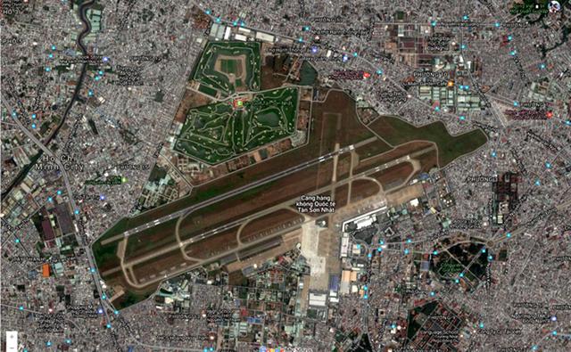 Ảnh chụp vị trí sân golf Him Lam nằm sát sân bay Tân Sơn Nhất