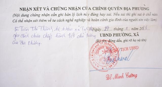 Nhận xét của UBND xã Tịnh Khê trong lý lịch của con gái ông Huyên