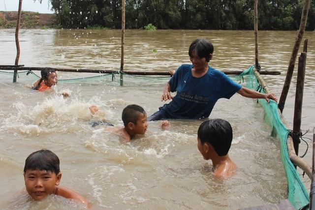 Hồ bơi của bà Sáu Thia chỉ là những cọc tre cắm xuống sông và dùng lưới bao quanh