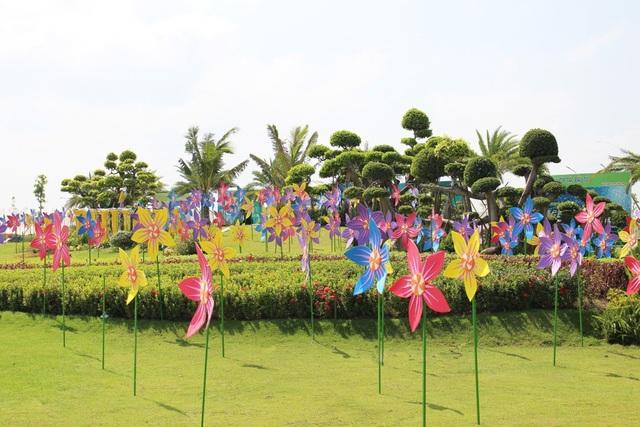 Công viên khu lấn biển TP Rạch Giá được biến tấu thành đồi hoa chong chóng tuyệt đẹp