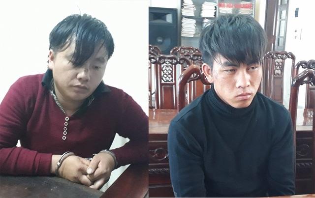 Văn Xay Hạ và Bun My Hạ tại cơ quan cảnh sát điều tra tội phạm về ma túy Công an tỉnh Nghệ An.