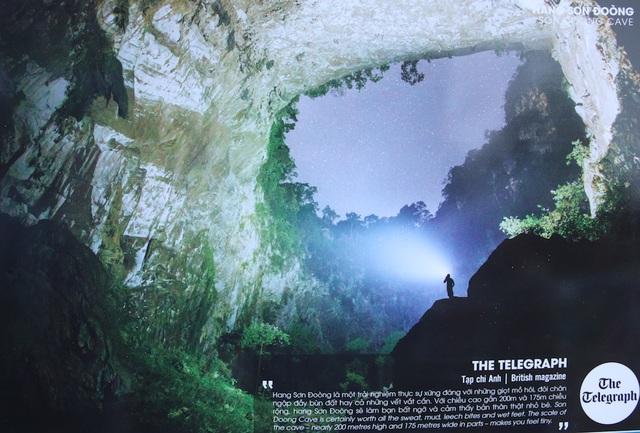 """Bức ảnh của tác giả THE TELEGRAPH Tạp chí Anh: """"Hang Sơn Đoòng là một trải nghiệm thực sự xứng đáng với những giọt mồ hôi , đôi chân ngập đầy bùn đất hay cả những vết vắt cắn. Với chiều cao gần 200m và 175m chiều rộng hang Sơn Đoòng sẽ làm bạn bất ngờ và cảm thấy bản thân thật nhỏ bé""""."""
