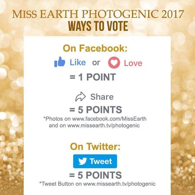 Hoa hậu Trái đất 2017 đã khởi động phần bình chọn Hoa hậu ăn hình nhất bắt đầu từ ngày hôm qua 27/10.