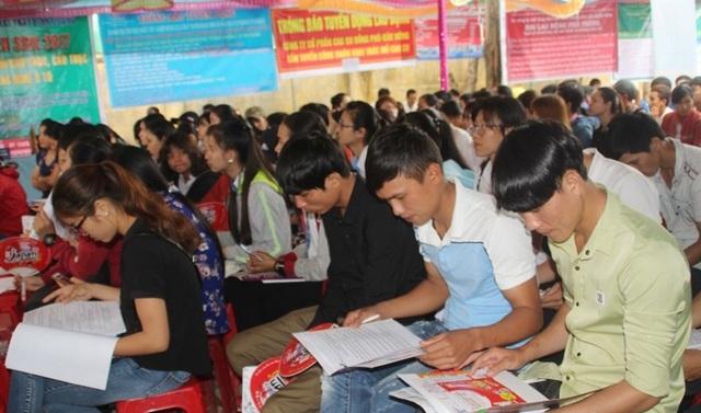 Người lao động trẻ tìm kiếm việc làm tại phiên giao dịch