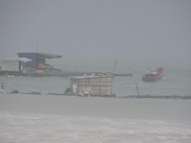 Bè cá của người dân đảo Lý Sơn bị sóng đánh tan hoang