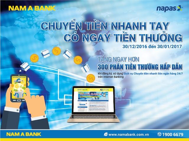 """""""Chuyển tiền nhanh tay - Có ngay tiền thưởng"""" tại Nam A Bank - 1"""