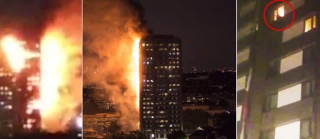 Hình ảnh cho thấy người bị mắc kẹt ở cửa sổ một căn phòng trong khi lửa đang cháy dữ dội