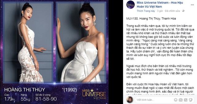 Thông tin cá nhân cùng hồ sơ tham dự của Hoàng Thùy trên trang Hoa hậu Hoàn vũ Việt Nam 2017