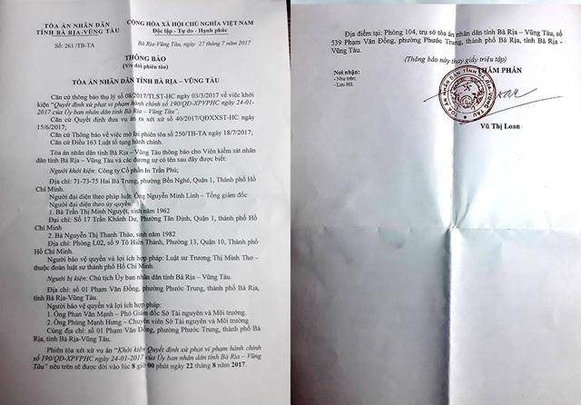 TAND tỉnh Bà Rịa - Vũng Tàu vừa có thông báo về việc hoãn phiên tòa khởi kiện quyết định xử phạt vi phạm hành chính của UBND tỉnh Bà Rịa - Vũng Tàu.