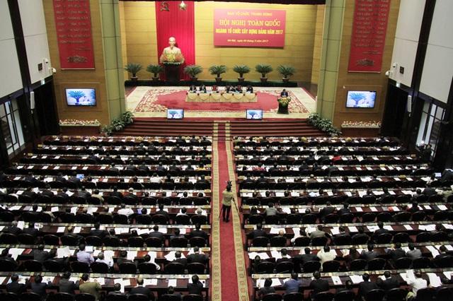 Nhiều Uỷ viên Bộ Chính trị, lãnh đạo cao nhất của Đảng tham gia Hội nghị toàn quốc ngành tổ chức xây dựng Đảng năm 2017.