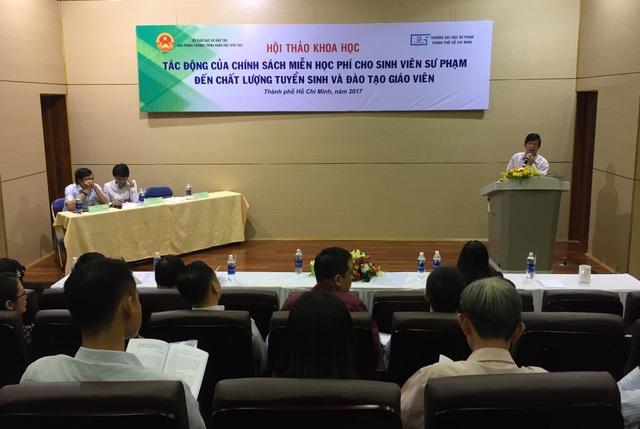 Hội thảo về Tác động của chính sách miễn học phí đối với chất lượng tuyển sinh và đào tạo giáo viên tổ chức tại trường ĐH Sư phạm TP.HCM thu hút nhiều đại diện đến từ các trường sư phạm trong cả nước