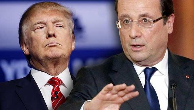 Tổng thống Mỹ Trump và Tổng thống Pháp Hollande (Ảnh: Free Malaysia Today)