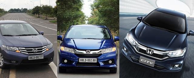 Từ trái sang: Ba phiên bản của Honda City kể từ khi có mặt tại Việt Nam vào năm 2013.