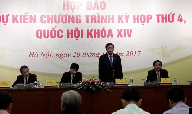 Tổng Thư ký Quốc hội Nguyễn Hạnh Phúc chủ trì cuộc họp báo trước kỳ họp thứ 4 của Quốc hội.