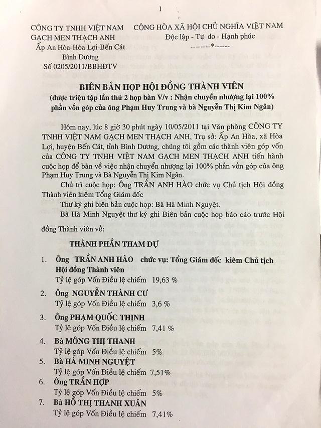 Theo như Biên bản họp hội đồng thành viên ngày 10/5/2011, sau khi việc chuyển nhượng được hoàn tất theo thủ tục luật định thì ông Cư phải có nghĩa vụ chuyển nhượng lại toàn bộ phần vốn góp đó cho các thành viên của Cty gạch men Vicera theo tỷ lệ góp vốn của từng thành viên.