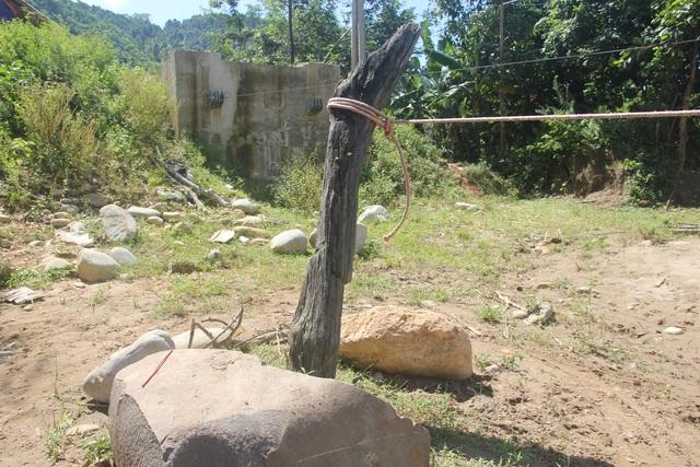 Dây cáp buộc với thân cây chôn dưới đất, có nguy cơ bục đứt bất cứ lúc nào vì đã cũ nát