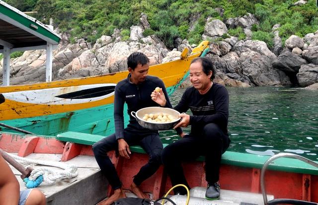 Chuyên gia lấy trứng rùa từ dưới biển lên