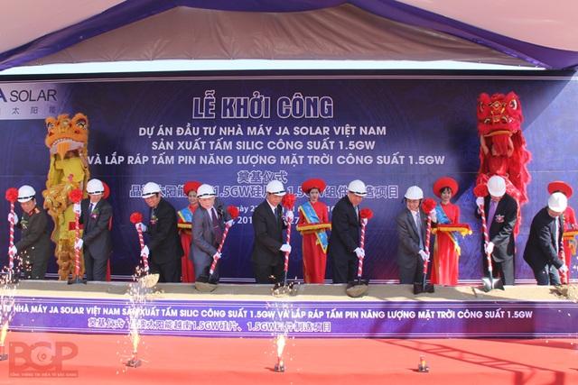 Lễ khởi công dự án Nhà máy Ja Solar Việt Nam tại khu công nghiệp Quang Châu. (Ảnh: Báo Bắc Giang)