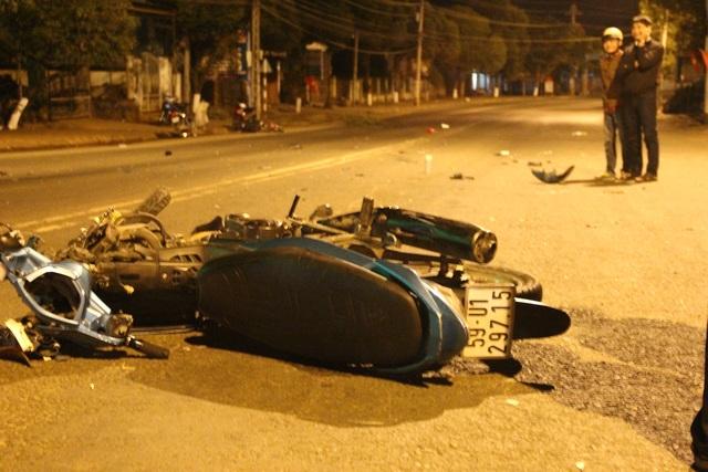 Xe máy của nạn nhân bị hư hỏng nặng