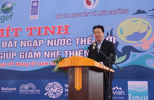 Bộ trưởng Bộ Tài nguyên và Môi trường Trần Hồng Hà phát biểu tại Lễ mít tinh