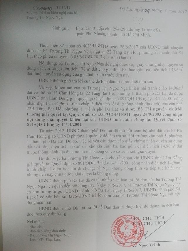 Văn bản trả lời của UBND TP Đà Lạt