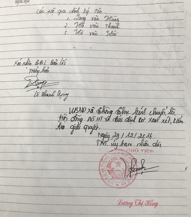 Đơn kiến nghị của 3 hộ dân cho rằng họ bị giả mạo chữ ký và được chủ tịch UBND xã Thông Thụ xác nhận.