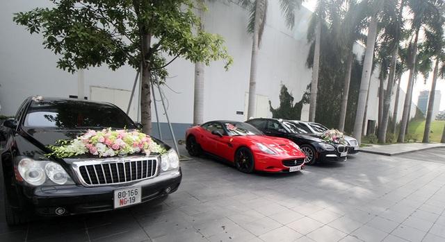 Dàn xe sang, siêu xe xuất đồng loạt xuất hiện tại lễ cưới của Hoa hậu Thu Ngân.