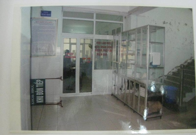 Hiện trường- nơi xảy ra vụ cố ý gây thương tích tại Bệnh viện Đa khoa tỉnh Thanh Hóa