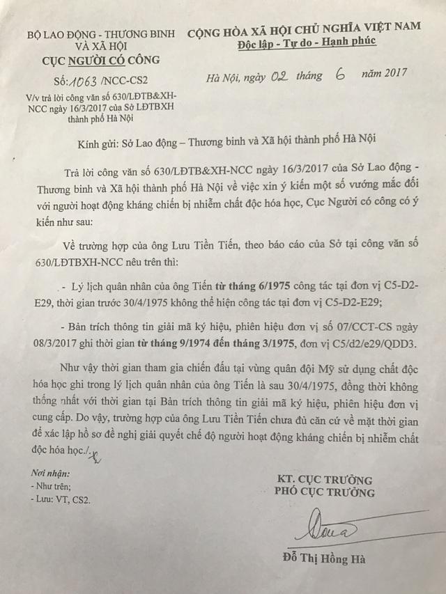 Công văn trả lời của Cục Người có công cho biết trường hợp của ông Lưu Tiền Tiến chưa đủ căn cứ về mặt thời gian để xác lập hồ sơ đề nghị giải quyết chế độ người hoạt động kháng chiến bị nhiễm chất độc hóa học.