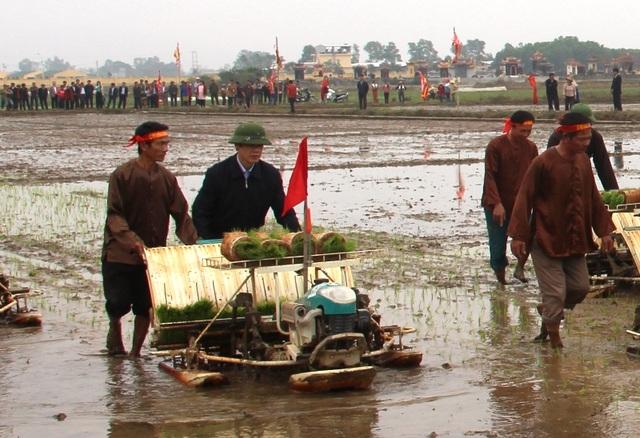 Ông Nguyễn Đình Xứng - Chủ tịch UBND tỉnh Thanh Hóa xắn quần lội ruộng cấy lúa