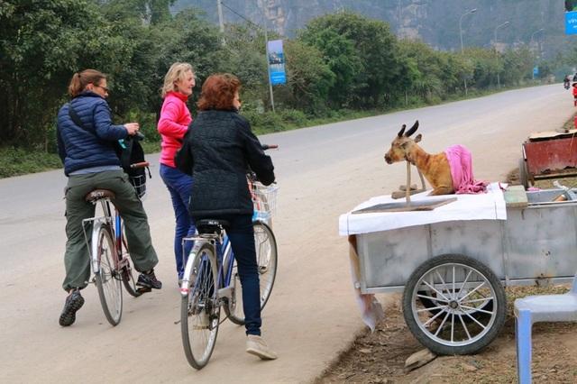 Những du khách nữ ái ngại khi nhìn thấy con dê bị giết thịt thui đen, nhe hàm răng bày bán ngay bên đường rất phản cảm.