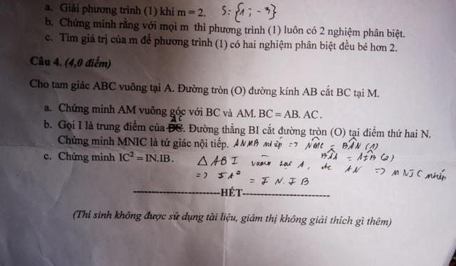 Đề thi môn toán do Sở GD-ĐT Quảng Nam ra cho học sinh lớp 9 bị sai phần b