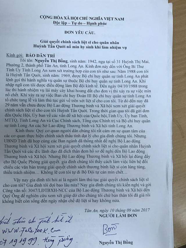 Đơn gửi tới báo Dân trí của bà Nguyễn Thị Bồng phản ánh về trường hợp của quân nhân Huỳnh Tấn Quới sau 29 năm vẫn chưa được công nhận là liệt sĩ.
