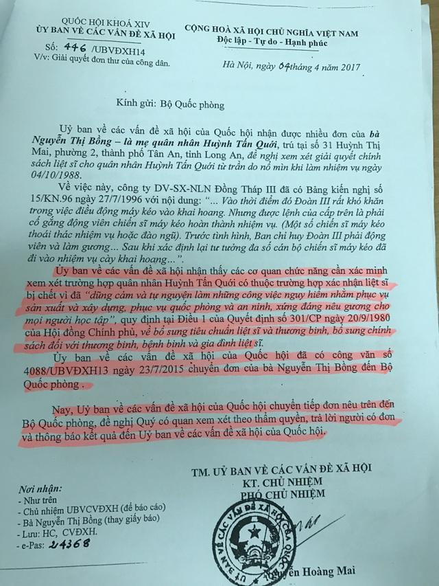 Công văn của Ủy ban các vấn đề xã hội gửi Bộ Quốc phòng yêu cầu xác minh trường hợp quân nhân Huỳnh Tấn Quới.