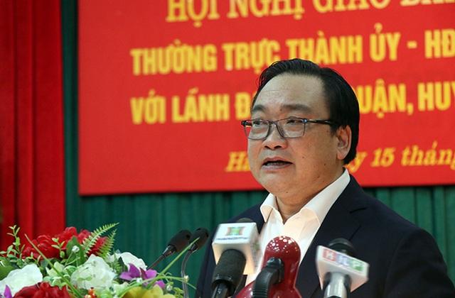 Ông Hoàng Trung Hải - Bí thư Thành ủy Hà Nội phát biểu chỉ đạo tại hội nghị