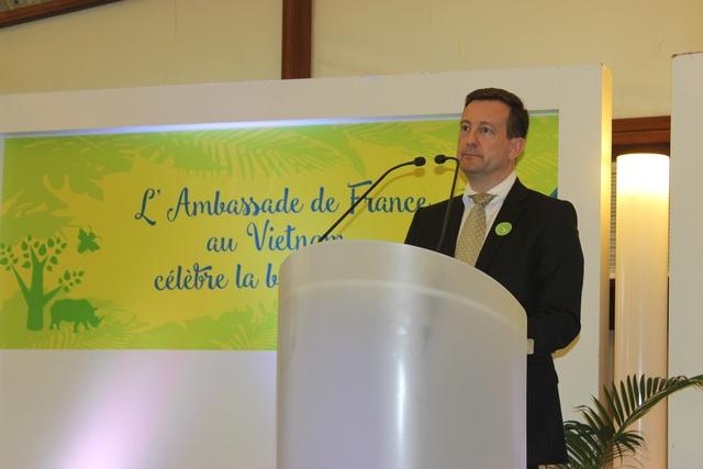 Đại sứ Pháp tại Việt Nam Bertrand Lortholary phát biểu tại buổi giới thiệu dự án Đại sứ quán xanh (Ảnh: Thành Đạt)