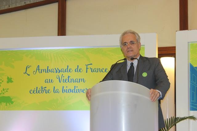 Giám đốc Cơ quan Phát triển Pháp (AFD) Rémi Genevey phát biểu tại buổi giới thiệu dự án Đại sứ quán xanh (Ảnh: Thành Đạt)