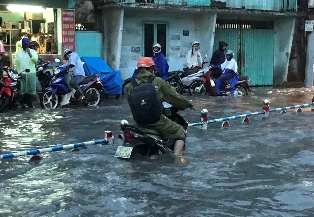 Hàng loạt xe chết máy do nước ngập cả chiếc xe.
