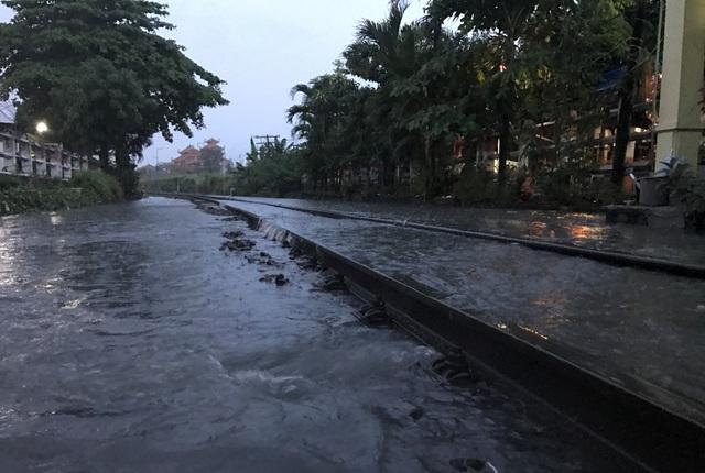 Nhiều chuyến tàu cũng đã không thể hoạt động vì đường sắt khu gian Bình Triệu – Sóng Thần bị phong toả do ngập nước.