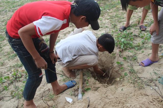 Vừa phát hiện, các thợ nhí nhanh chân dùng các dụng cụ để đào nhông.