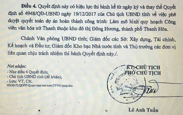 Quyết định lần này do ông Lê Anh Tuấn - Phó chủ tịch UBND tỉnh Thanh Hóa ký
