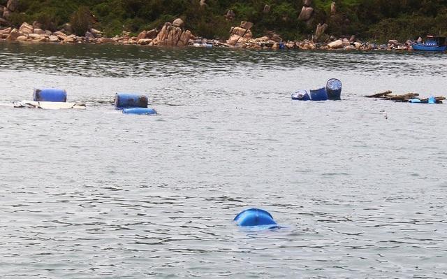 Hàng loạt phuy nhựa, được dùng để gia cố cho bè thủy sản nuôi tôm hùm bị bão đánh tan tành trên biển, tôm hùm thoát ra ngoài