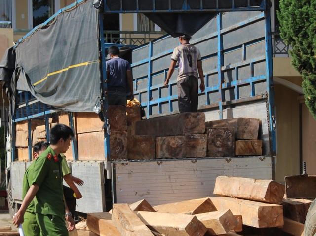 Lực lượng chức năng đang kiểm tra số gỗ lậu