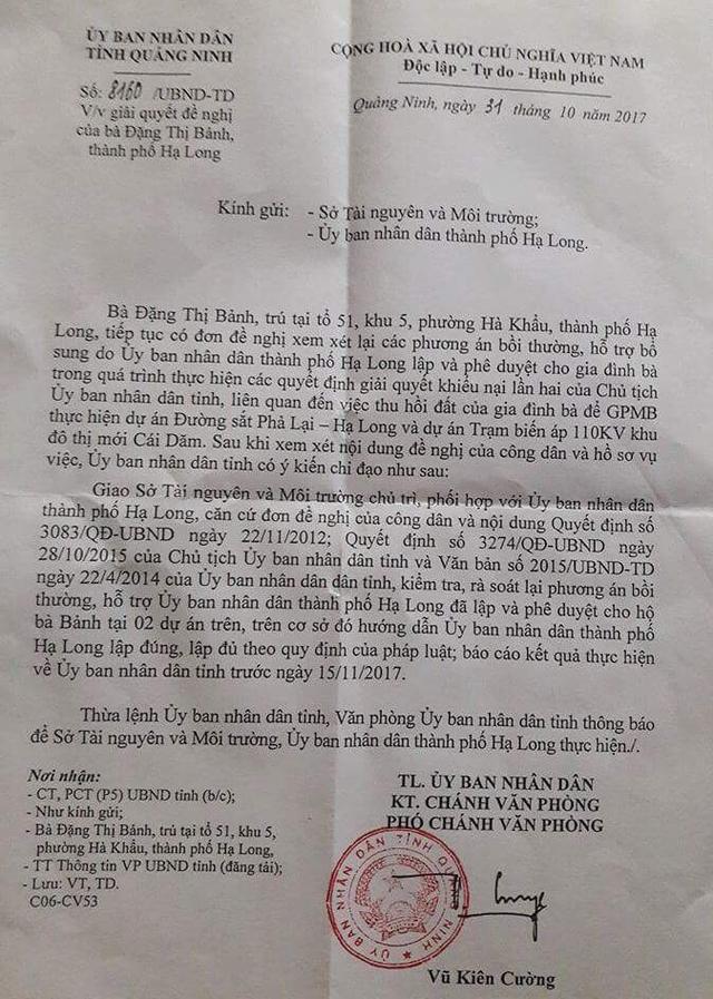 Văn phòng UBND tỉnh Quảng Ninh yêu cầu Sở Tài Nguyên và Môi trường tỉnh hướng dẫn UBND TP.Hạ Long lập phương án đền bù và bồi thường cho gia đình bà Đặng Thị Bảnh.