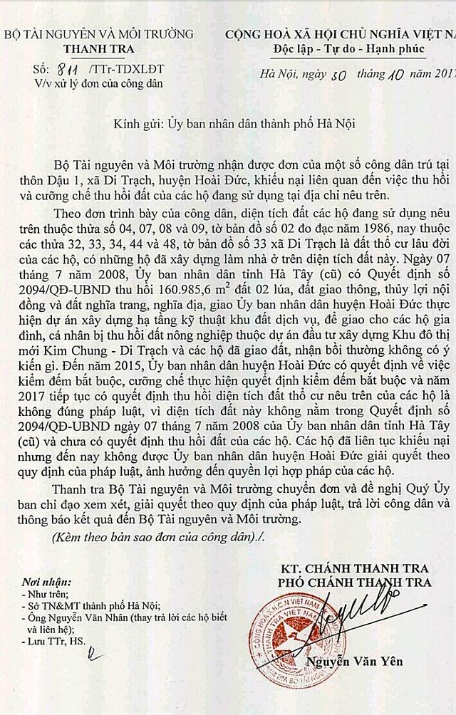 Công văn gửi UBND Thành phố Hà Nội của Thanh tra Bộ TN&MT.