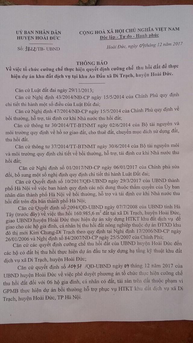 Hà Nội: Huyện Hoài Đức ra quyết định cưỡng chế, người dân đồng loạt gửi đơn kêu cứu! - 4
