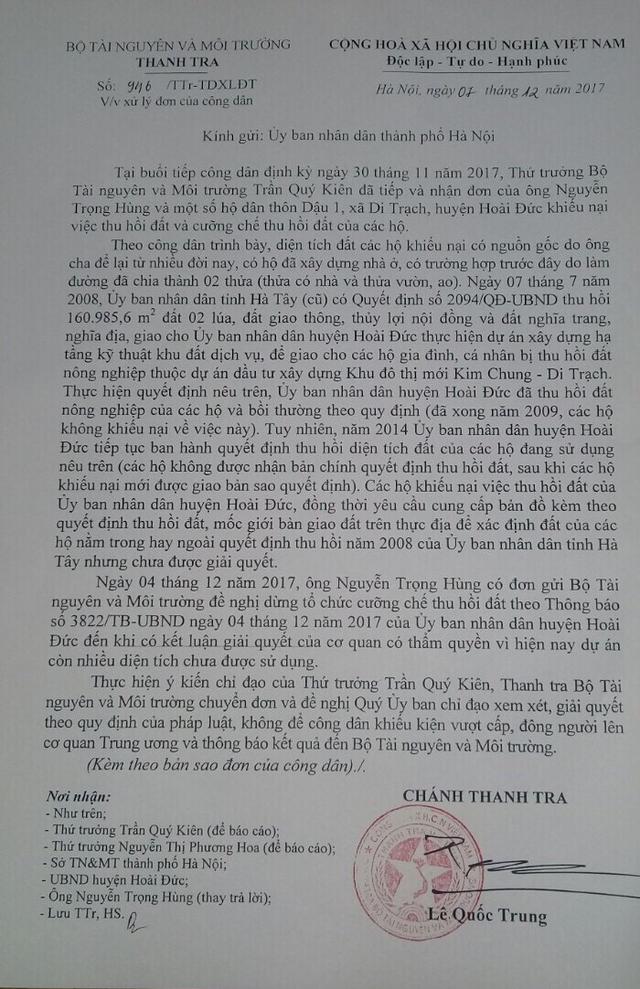 Thực hiện chỉ đạo của Thứ trưởng, Thanh tra Bộ TN&MT đã tiếp tục gửi công văn yêu cầu UBND TP.Hà Nội chỉ đạo xem xét, giải quyết khiếu kiện của công dân tại huyện Hoài Đức.