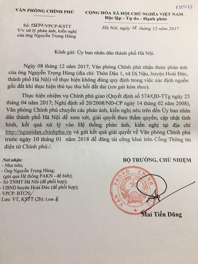 Công văn của Văn phòng Chính phủ do Bộ trưởng, Chủ nhiệm VPCP Mai Tiến Dũng ký gửi UBND TP.Hà Nội về việc xử lý đơn thư của các hộ dân ở huyện Hoài Đức