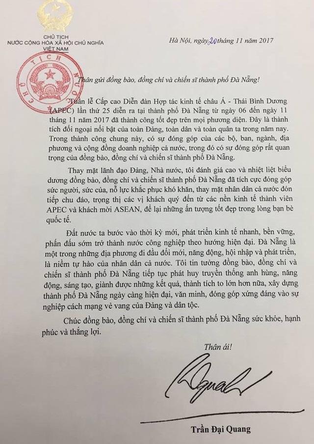 Thư của Chủ tịch nước Trần Đại Quang gửi đến Đà Nẵng