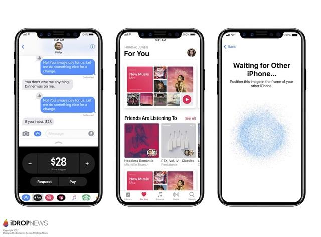Giao diện iOS 11 trên bản concept của iPhone 8.